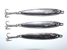 3 x FFT 60g Silver Stinger Spinners Mackerel Bass Cod Pike Fishing Treble Hooks