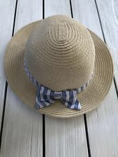 Nwt Gymboree Straw Hat With Bow Blue And White Girls 0-6 6-12