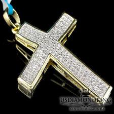 "In 10K Yellow Gold Finish New .25ctw Genuine Diamond Cross Pendant Charm 1.38"""