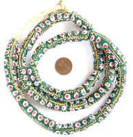 Ghana African Matched Fancy kelly Green red eye Recycled glass trade beads