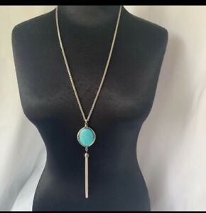 Lucky Brand Necklace Long Turquoise Stone Silver Herringbone Chain & Tassel