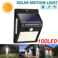 100 LEDs Solar Power PIR Motion Sensor Wall Light Outdoor Garden Lamp Waterproof