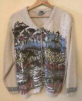 Northern Reflections Womens M Cardigan Sweater Seaside Floral Lighthouse Boats