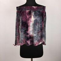 American Eagle Outfitters Womens L Multicolor Velvet Tie Dye Off Shoulder Top