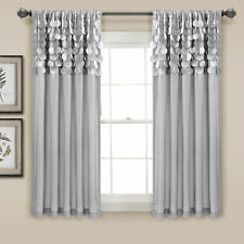 Circle Dream Window Curtain Panels Light Gray 54X63 Set