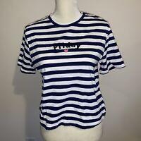 White//Red, Medium Rebellious One Juniors Frenchie Striped Ringer T-Shirt