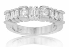 1.35 Ct TW Round and Baguette Diamond Wedding Band F Color VS-2 Clarity 14kt