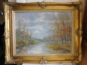 """Lucien MOYROUD (1920-2000) """" Rivière en automne"""" huile sur panneau superbe cadre"""