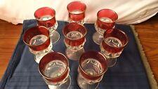 Vintage Set 8 Ruby Glass Wine Glasses