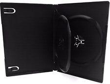 5 New Premium Black Double DVD CD Cases, Multi hold 2 Discs, Standard 14mm, DF
