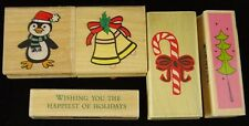 Mounted Rubber Stamps 5 Pcs Christmas Bells Candy Cane Tree Penguin Holidays