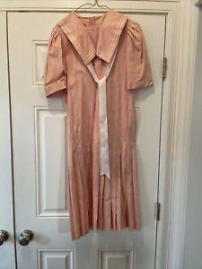 laura ashley vintage pink linen /cotton sailor dress size 10 US