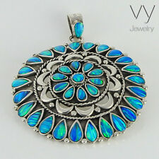 925 Sterling Silver Pendant with Blue Opal Stone Handmade Women VY Jewelry Gift