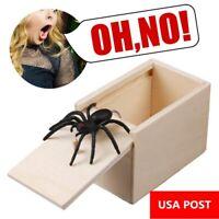 Wooden Prank Spider Scare Box Hidden in Case Trick Play Joke Scarebox Gag Toy US