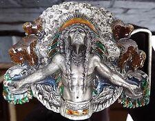 Vintage Indian Buffalo Belt Buckle Dated 1981 Enamel Bergamot Brass Works Beauty