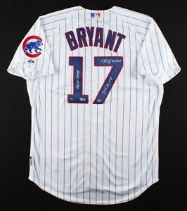 KRIS BRYANT Signed 3 Inscription Authentic White Cubs Jersey FANATICS LE 17/17