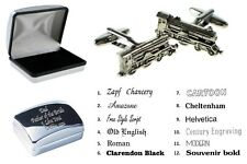 Pewter Steam Locomotive Train Cufflinks + Personalised Engraved Case XWCL020