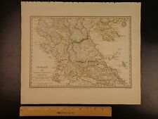1844 BEAUTIFUL Huge Color MAP of Turkey Northern Greece Thessaloniki ATLAS