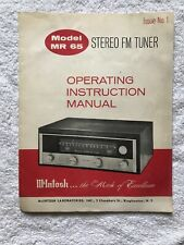 McIntosh MR 65 Stereo FM Tuner Operating Instruction Manual