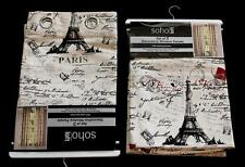 2 Paris Eiffel Tower Script Red Black Grey Grommet Window Panels 54 ea x 84 NWT