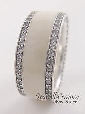 Genuine HEARTS OF PANDORA Silver/White Enamel WIDE BAND Ring 5 (50) NEW w BOX