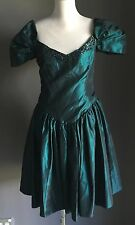 Hire or Buy VINTAGE 1980's Emerald Green Taffeta Drop Waist Dress Size 12/14