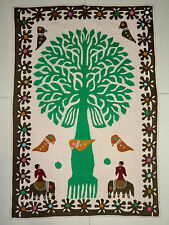 TREE OF LIFE WALL HANGING APPLIQUE HAND WORK COTTON TAPESTRY HOME DECOR ART