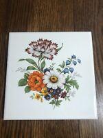 "HYALYN #505 Ceramic Wall Tile/Trivet FLOWERS 6"""