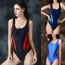 Polyester Scoop Neck Striped Swimwear for Women