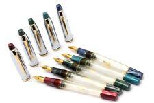Lot Of 5 - Wality Demonstrator Eyedropper Fountain Pen Steel Cap Golden Trims