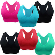 RACERBACK SPORTS BRA ACTIVE WEAR TOP 3 OR 6 PACK SOLID COLORS YOGA RUN JOG WALK