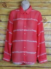 Old Navy Womens Pink Long Sleeve w/ White Stripes MEDIUM Button Down