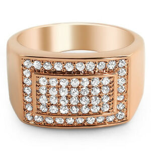 Rose Gold Clean Cut Ring for Men With Lab Made VVS Stones