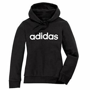 Adidas Women's Plus Size Essentials Linear Overhead Hoodie, Black/White