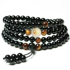 Natural stone tiger-eye mala men bracelet Buddhist obsidian 6mm 108 prayer beads