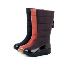 Women's Waterproof Platform Pull on Winter Snow Boots Warm Shoes Mid Calf Boots