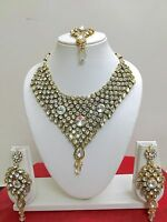 Indian Bollywood Style Fashion Gold Plated Kundan Bridal Jewelry Necklace Set