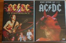 AC/DC Pair DVDs Stiff Upper Lip Live and In Performance MINT Cases Inlays etc