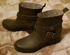 Lucky Brand LP-Rindah Brown Rubber Rain Ankle Boots Bootie Size 6M Buckle Detail