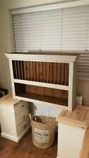 Rustic Vintage Painted Pine Country Farmhouse Wall Plate Rack
