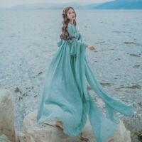 Women Vintage V-Neck Elegant Sweet Sleeve Dreamlike Fairy Long Dress