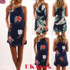 Womens Summer Casual Short Mini Dress Tops T-shirt Holiday Floral Beach Sundress