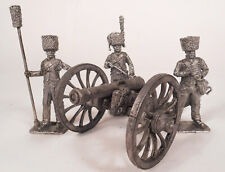 Tin, 54 mm (scale 1: 32). French 6 pounder gun with three gunners 1797-1815.
