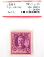 .US STAMP #881 1940 3c BRIGHT RED VIOLET PSE GRADED XF-SUP 95 MINT OGnh.