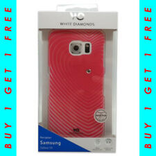 White Diamonds Semi-Transparent Pink Case For Samsung Galaxy S6 BUY 1 GET 1 FREE