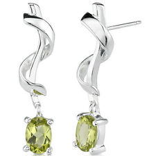 1.5 CT Oval Peridot Sterling Silver Stud Earrings