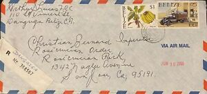 2000 Belize #1112,#1134 on Dangriga Reg Cover to US; UPU topical *d