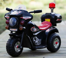 Kids Toy 3 wheel Electric Ride On Police Motorbike Motorcycle Motor Bike Car BLK