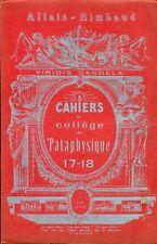 CAHIERS DU COLLEGE DE 'PATAPHYSIQUE - Numero 17-18 - Allais - Rimbaud
