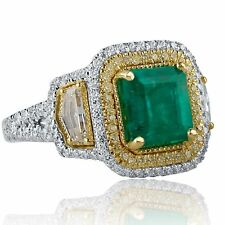 GIA Certified 3.35 Ct Colombian Octagonal Emerald Diamond Engagement Ring 18k